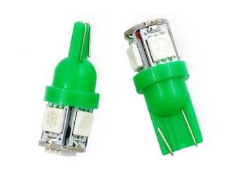 Car LED bulb W5W T10 5 SMD 5050 GREEN