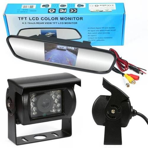 """2in1   PZ702 PZ470   Set - 18IR 12-24 reversing camera with a monitor 4.3 """"TFT LCD rearview mirror"""