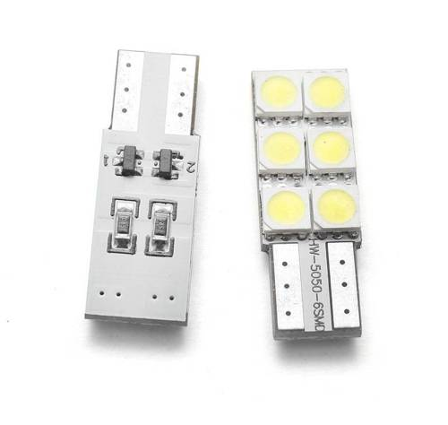Car LED bulb W5W T10 6 SMD 5050 CAN BUS sided