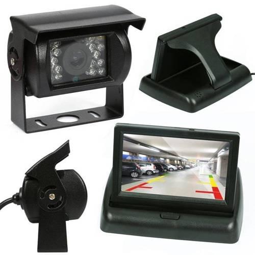 """2in1   PZ704 PZ470   Set - eine Rückfahrkamera 18IR 12-24 mit Monitor-Falten 4.3 """"TFT LCD"""