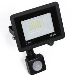 BLS-20W-Black | Naświetlacz LED 20W z czujnikiem ruchu i zmierzchu | 1900 lm | 220V