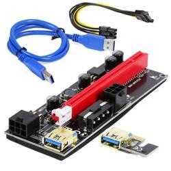 Riser 009S Gold | pozłacane gniazda USB 3.0 + kabel | zasilanie 6-PIN