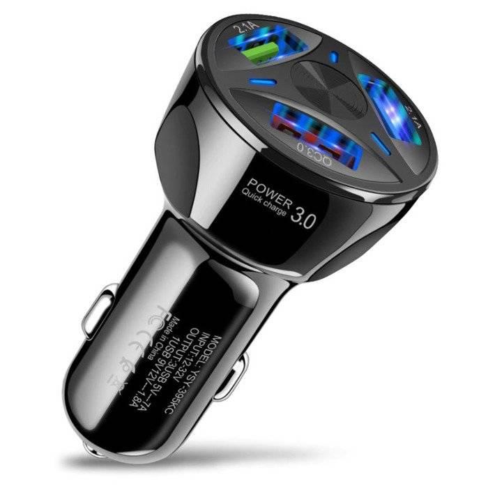 CA 007 | Szybka ładowarka samochodowa 3x USB | Szybkie ładowanie Quick Charge 3.0