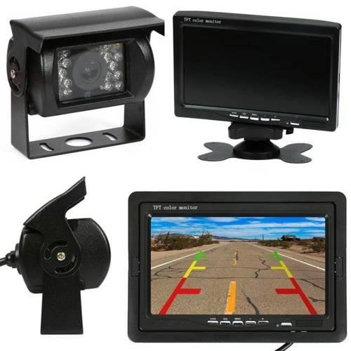 """2w1   PZ607 PZ470   Zestaw 12/24V - kamera cofania 18IR 12-24V z monitorem 7"""" LCD TFT z pilotem + Kabel AV RCA 10m"""