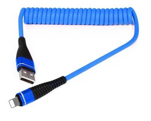 AM32   Lightning 1M   Spiralny kabel USB do ładowania telefonu   Quick Charge 3.0 2.4A