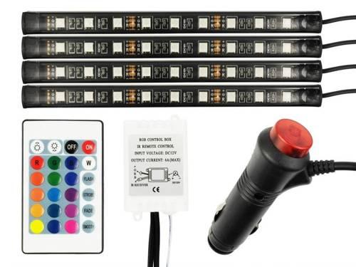 Oświetlenie LED RGB do wnętrza (kabiny) samochodu z pilotem pod gniazdo zapalniczki