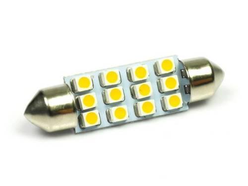 WW Żarówka samochodowa LED C5W 12 SMD 1210 Biała ciepła