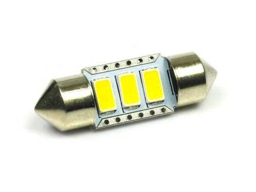 WW Żarówka samochodowa LED C5W 3 SMD 5630 Biała ciepła