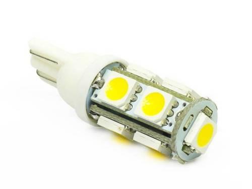WW Żarówka samochodowa LED W5W T10 9 SMD 5050 Biała ciepła