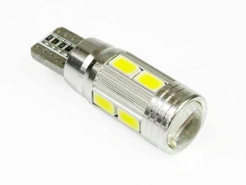 Żarówka samochodowa LED W5W T10 10 SMD 5630 CAN BUS z soczewką