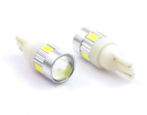 Żarówka samochodowa LED W5W T10 6 SMD 5630 z soczewką